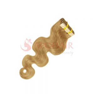 Tape hair Water body wavy Blonde color