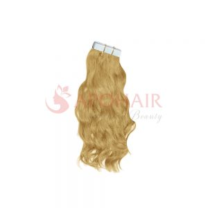 Tape hair Natural wavy Blonde color