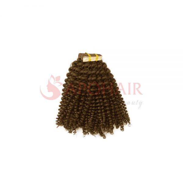 Tape hair Kinky curly Brown color