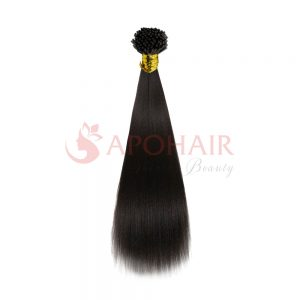 I-tip hair Yaki straight Black color