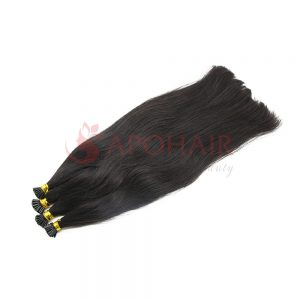 I-tip hair Straight Black color