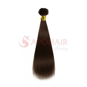 I-tip hair Yaki straight Dark brown color