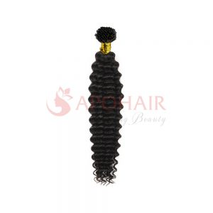 I-tip hair Deep wavy Black color