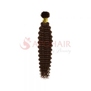 I-tip hair Deep wavy Brown color