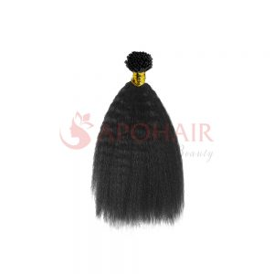 I tip hair Kinky straight Black color