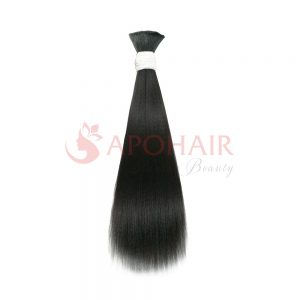 Bulk hair Yaki Straight Black color