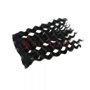 Clip-in hair Body wavy Black color