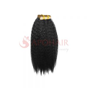 Tape hair Kinky straight Black color