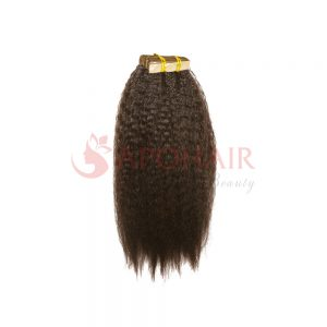 Tape hair Kinky straight Brown color