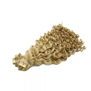 Tape hair Deep wavy Blonde color