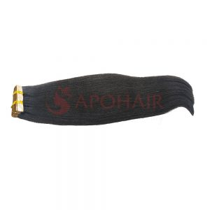 Tape hair Straight Dark brown color