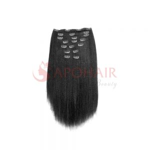 Clip-in hair Kinky straight Black color