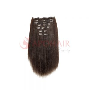 Clip-in hair Yaki straight Dark brown color