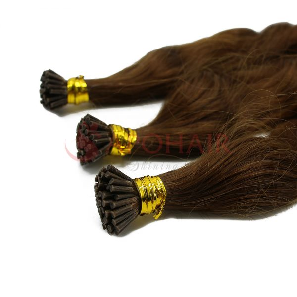 I-tip hair Body wavy Brown color