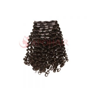 clip in loose curly brown