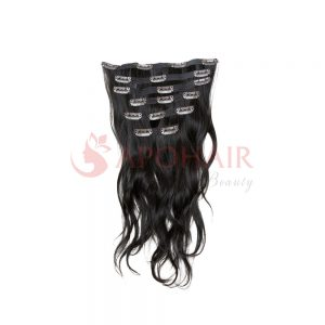 Clip-in hair Natural wavy Black color