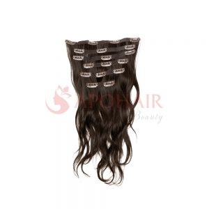 Clip-in hair Natural wavy Brown color