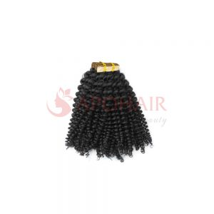 Tape hair Kinky curly Black color