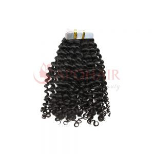 Tape hair Deep curly Black color