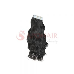 Tape hair Natural wavy Black color