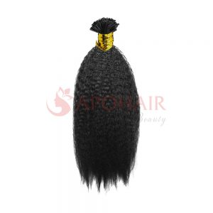 U-tip hair Kinky straight Black color
