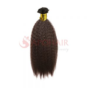 U-tip hair Kinky straight Brown color