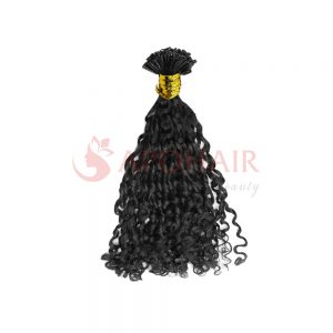 U-tip hair Romantic Curly black color