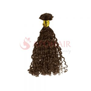 U-tip hair Romantic curly Brown color