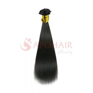U-tip hair Yaki straight Black color