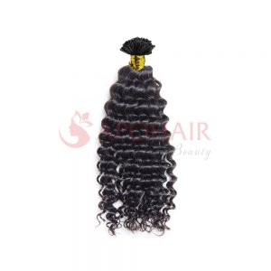 U-tip hair Deep curly Black color