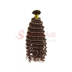 U-tip hair Deep curly Brown color