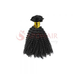 U-tip hair Kinky curly Black color