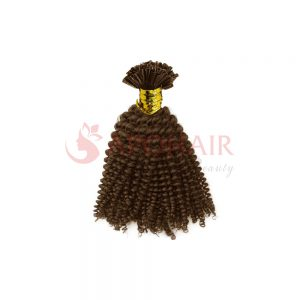 U-tip hair kinky curly brown hair