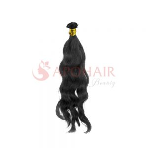 U-tip hair Natural wavy Black color