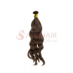 U-tip hair Natural wavy Brown color