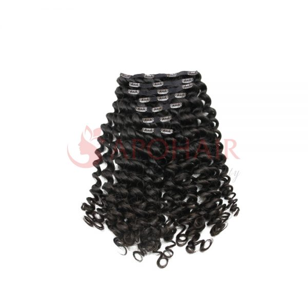 clip in loose curly black