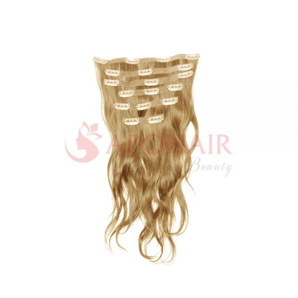 Clip-in hair Natural wavy Blonde color