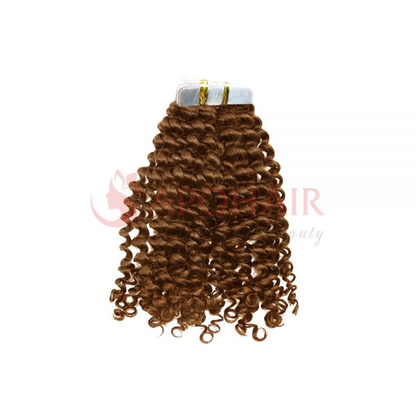 Tape hair Deep curly Brown color