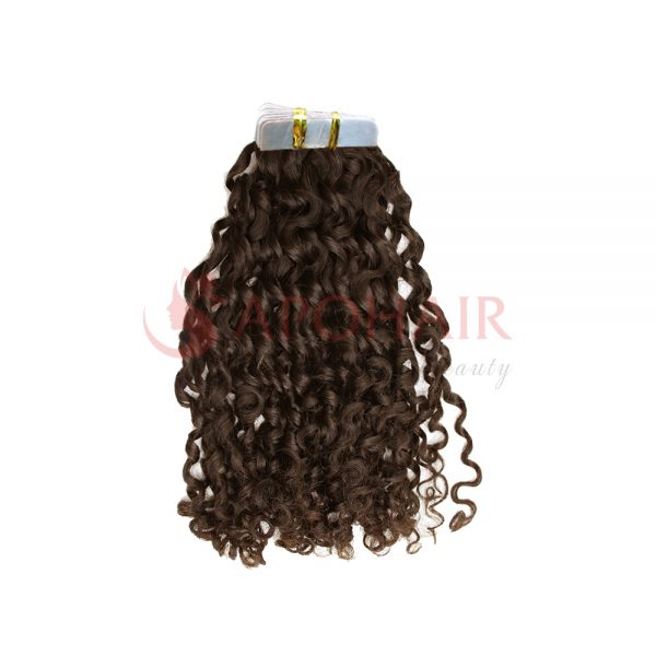 Tape hair Romantic curly Brown color