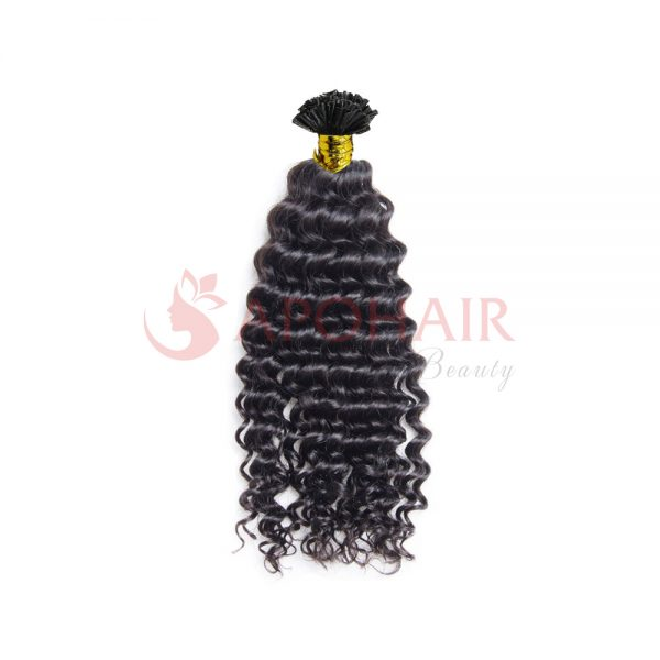 U-tip hair Loose curly Black hair