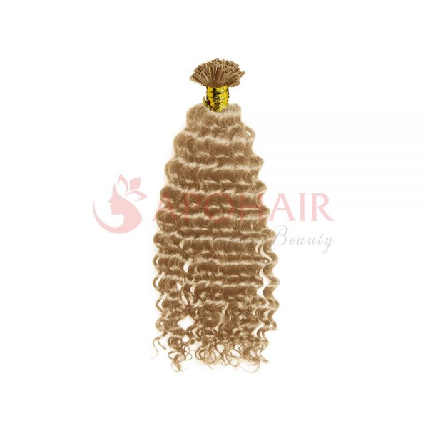 U-tip hair Deep curly Blonde color