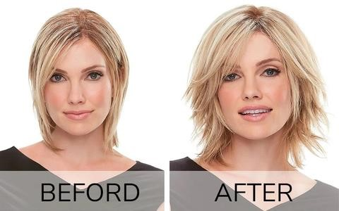 hair topper before and after