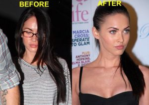 Megan Fox with and without makeup