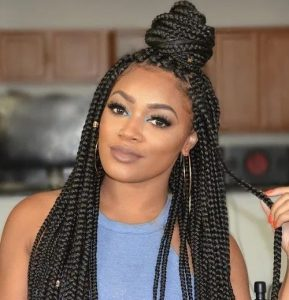 box braids in half bun